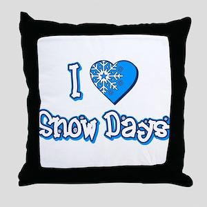 I Love [Heart] Snow Days Throw Pillow